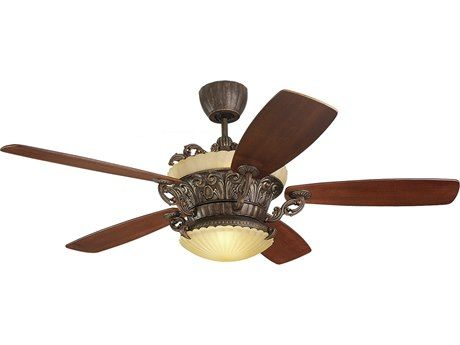 Monte Carlo Fans Strasburg Tuscan Bronze 56 Wide Indoor Ceiling Fan with Light