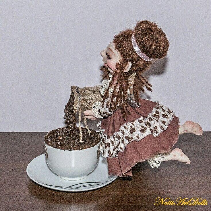 Coffee Fairy is Unique Interior Decoration☕ Art Doll ❤
