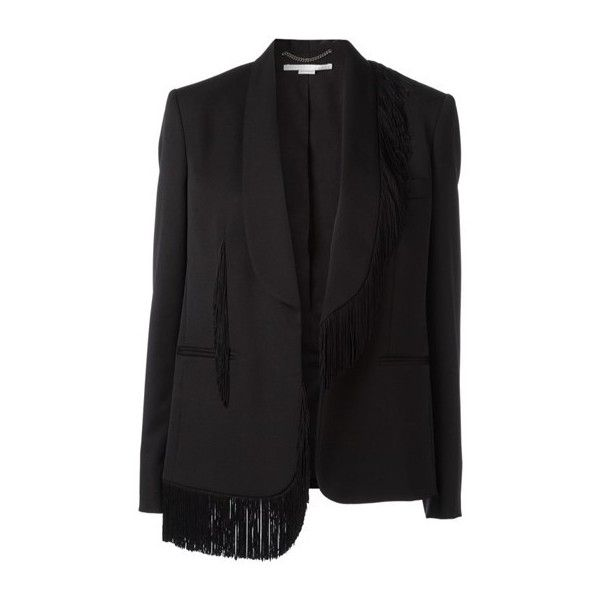 STELLA MC CARTNEY 'Floriane' Tailored Smoking Blazer (£1,190) ❤ liked on Polyvore featuring outerwear, jackets, blazers, blazer, black, fringe jacket, tailored jacket, tailored blazer, fringe blazer and blazer jacket