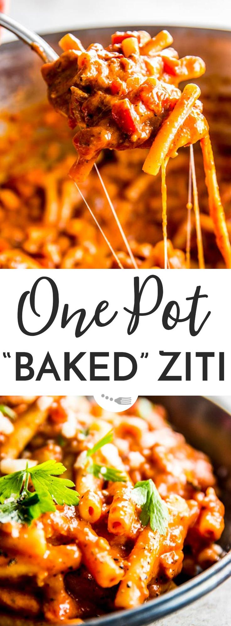 "This easy ""baked"" ziti recipe is cheeky - it's not baked at all! Made in one pot on the stovetop, this is a fuss-free dinner recipe you can have on the table in just 30 minutes. Made with Italian sausage, cream cheese and more cheesy goodness for the BEST easy and creamy meal. Perfect to feed a crowd, too! 