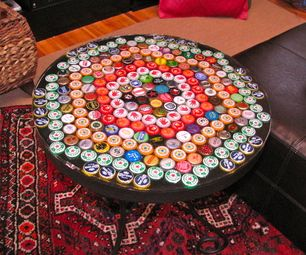 Bottle cap table with resin- Step by step instructions on how to make a table top covered in bottle caps using resin