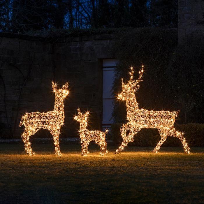 Light Up Rattan Reindeer Family Outdoor Christmas Figures Outdoor Christmas Outdoor Christmas Lights
