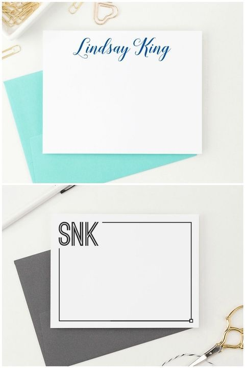 Stationary Set: Writing thank you notes doesn't seem like such a chore with a fresh stake of notecards. Click through for more personalized gifts for the holidays.