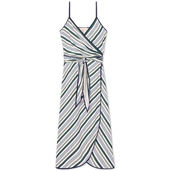 Tory Burch Villa Wrap Dress ($495) ❤ liked on Polyvore featuring dresses, cliff stripe, wrap tie dress, v neck wrap dress, striped dress, white day dress and tory burch