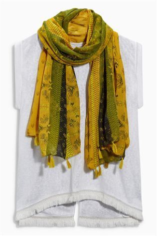White Scarf Layer Top