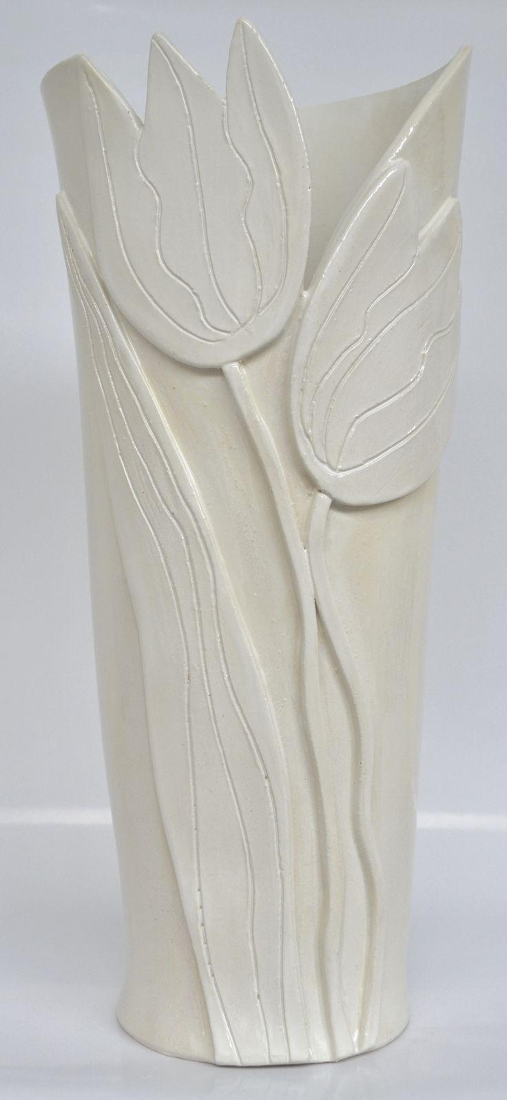 cream tulip vase
