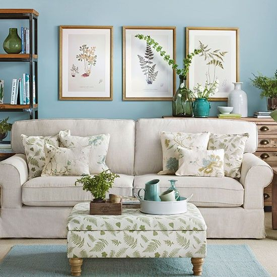stylish living room in cream + aqua