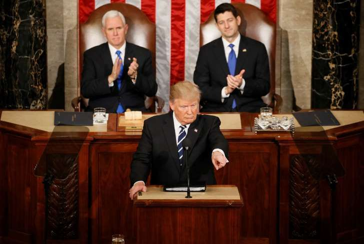 U.S. President Trump addresses Joint Session of Congress - Washington, U.S. - 28/02/17 - U.S. President Donald Trump speaks in front of Vice President Mike Pence (L) and Speaker of the House Paul Ryan.