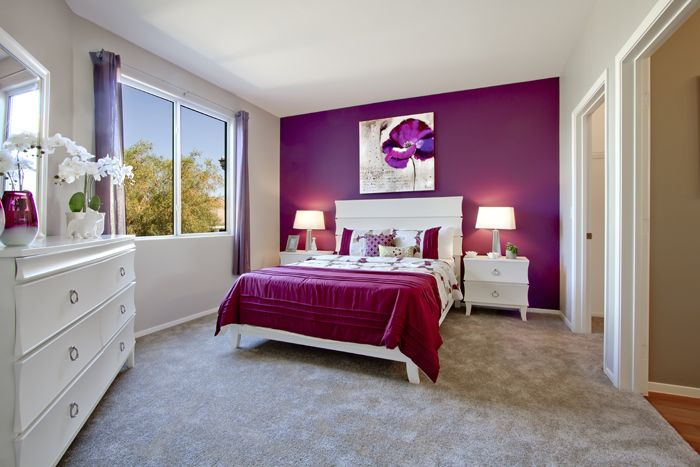 A orchid-toned accent wall ads a youthful yet sophisticated feel to this girls room. We recommend our Gypsy Jewels KMA38 to achieve this look. http://www.colorstudiocollection.com/ #Homedecor #Interiordesign