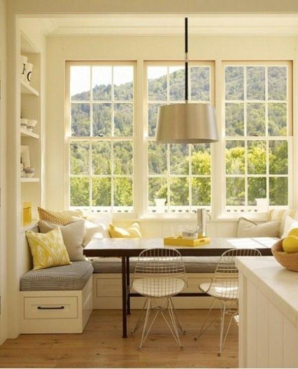 Sitzecke Stauraum Küche-gelbe Kissen