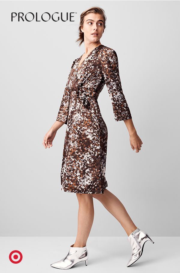b6ae0e7fd791 This abstract wrap dress with kimono-inspired sleeves is office (and party)  ready.