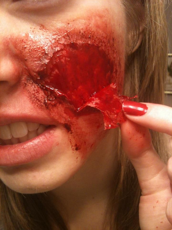She Used Tissue Paper She Glued Tissue To Her Face