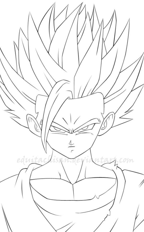 Gohan Lineart By Eduitachisan Desenhos Dragonball Goku Desenho