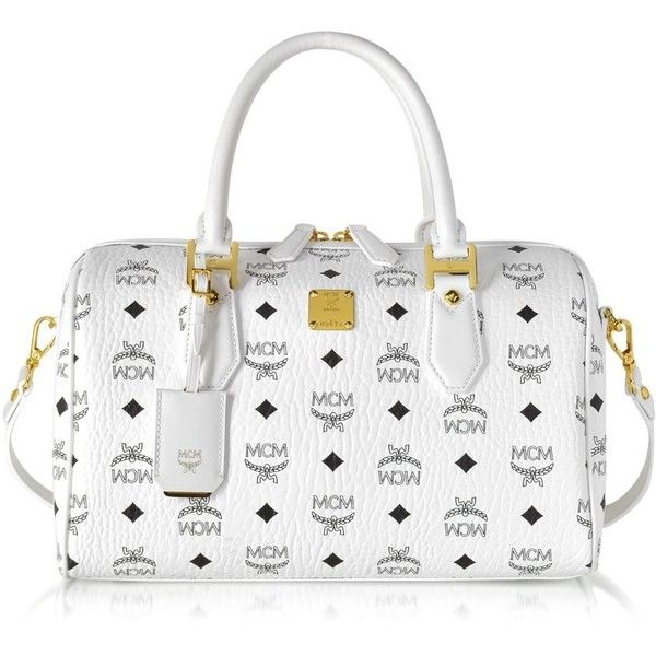 MCM Handbags Heritage White Medium Boston Bag ($1,245) ❤ liked on Polyvore featuring bags, handbags, man bag, mcm handbags, genuine leather purse, real leather handbags and leather handbags