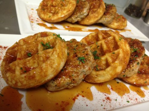 chicken sausage and waffles from chef roble'