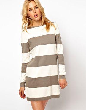 Mango Stripe Knit Jumper Dress #asos
