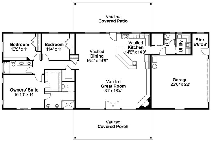 small ranch floor plans | Ranch House Plan - Ottawa 30-601 - Floor Plan