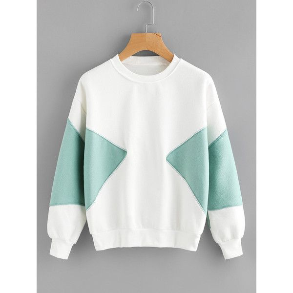 SheIn(sheinside) Color Block Sweatshirt (€12) ❤ liked on Polyvore featuring tops, hoodies, sweatshirts, white, crew-neck sweatshirts, long sleeve pullover, sport sweatshirts, color-blocked sweatshirt and colorblock sweatshirts
