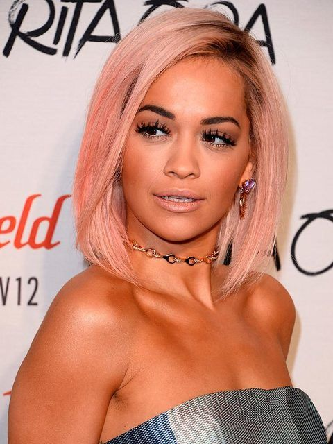 Former ELLE cover star Rita Ora with a frosted pink bob.
