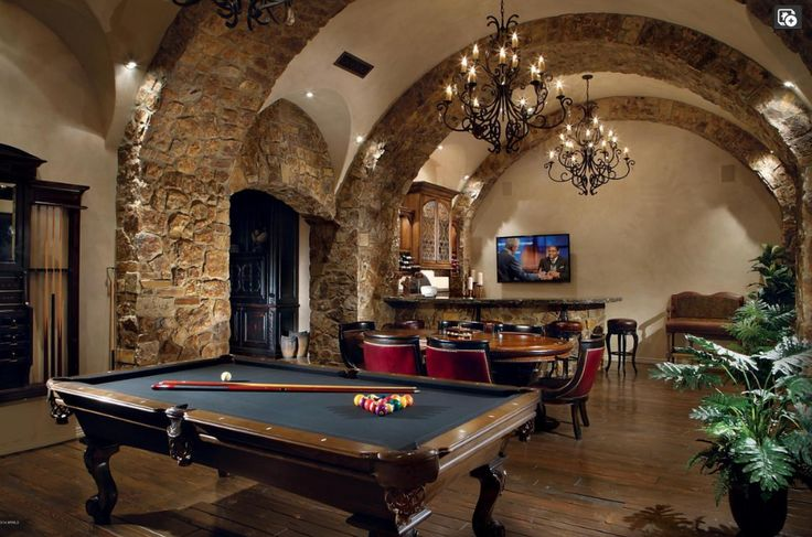 Barrel Vaulted Game Room With Texas Hold Em Poker Table