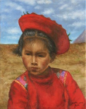 Little Indigenous Girl from Peru to putchase a reproduction, go to: http://fineartamerica.com/featured/little-peruvian-girl-sylvia-castellanos.html