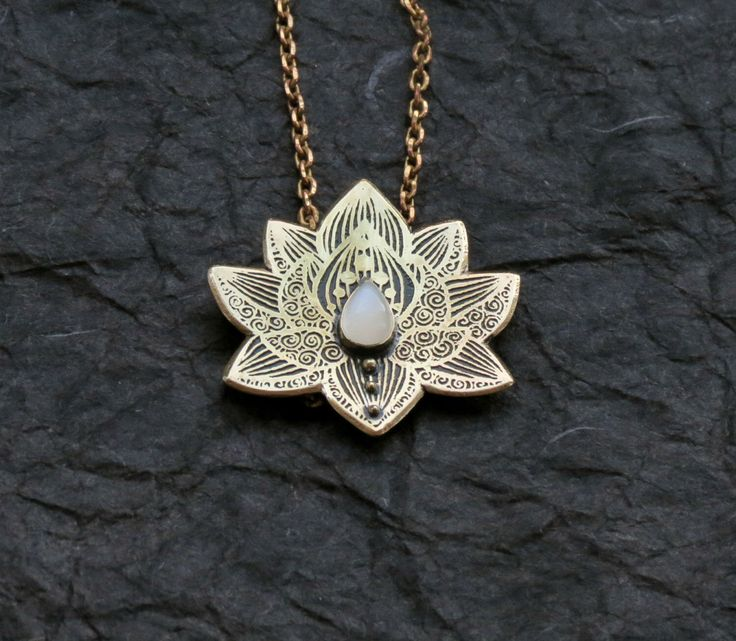 Lotus Pendant - Water Lily Necklace - Brass Flower Necklace - Moonstone Necklace - Heart Chakra Necklace by spaceweaver on Etsy https://www.etsy.com/listing/207989813/lotus-pendant-water-lily-necklace-brass