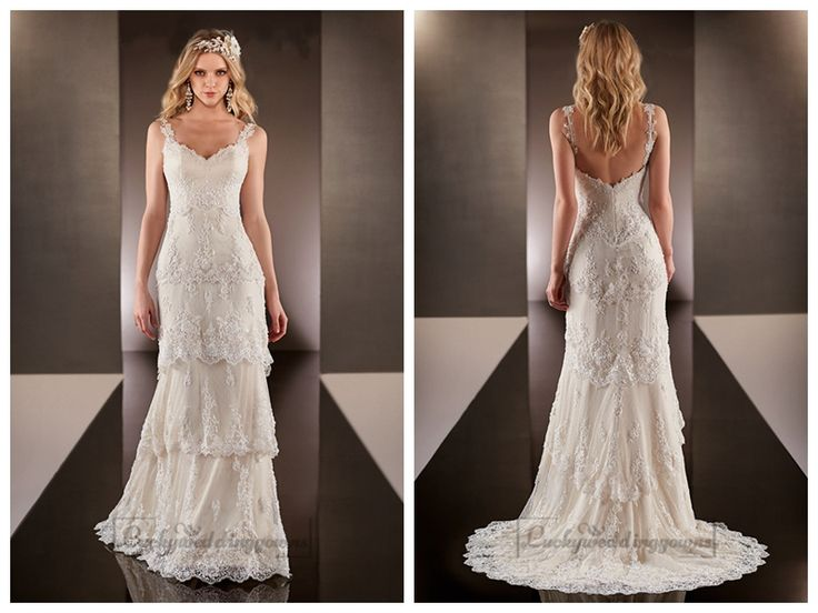 Straps Dramatic V-neck Lace Over Wedding Dresses with Layered Scalloped   Skirt http://www.ckdress.com/straps-dramatic-vneck-lace-over-wedding-dresses-  with-layered-scalloped-skirt-p-2029.html  #wedding #dresses #dress #lightindream #lightindreaming #wed #clothing   #gown #weddingdresses #dressesonline #dressonline #bride