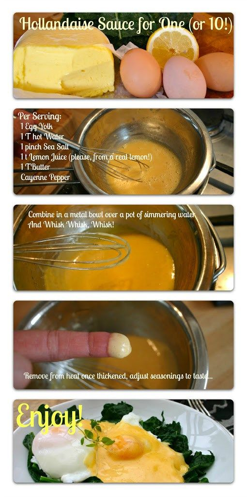 Quick and Easy Hollandaise Sauce. This gives you a fool-proof recipe for making any number of servings-- make it for one, or for a crowd! | And Here We Are -- This is kind of an anti-recipe– just some basic proportions.  I think I've made it just under 10 times in the last two weeks, and I have yet to mess it up, even with my very loose way of measuring things.  And the ingredients are so basic, you can make a phenomenal meal with very little on hand!