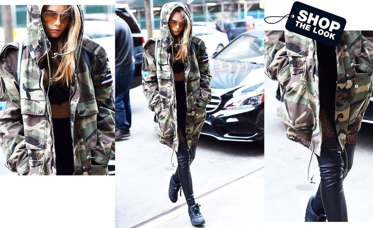 Cooler geht's nicht: Model Cara Delevingne trägt ihren Military-Parka zu Leggings und Crop-Top.