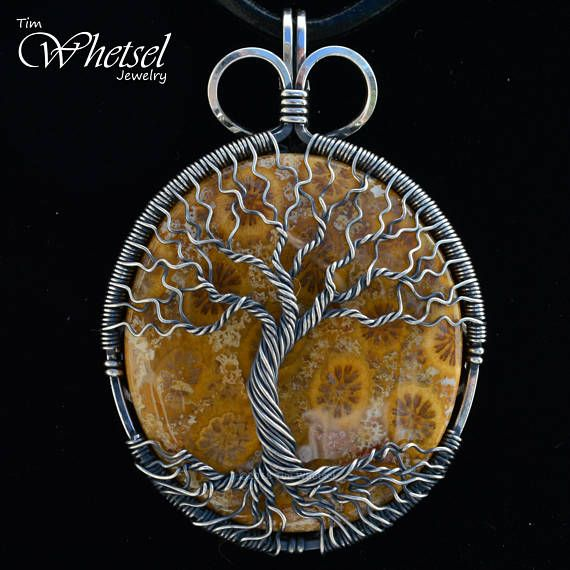 Fossil Coral Pendant hand made chain rose gold wire