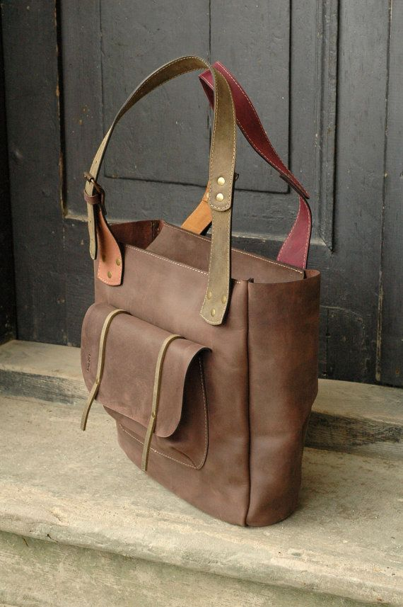 handmade leather woman handbag brown leather ANGELA by ladybuq