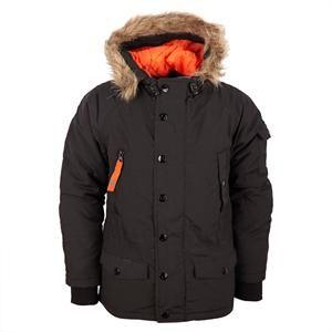 Sort vinterjakke med hætte og aftagelig pelskrave fra Grunt - Praka.