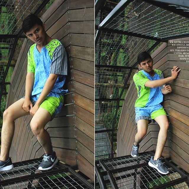 """NGOWAHI (dibalik dalam bahasa jawa) . Banyak orang berpikir akan hal yang sebenarnya tidak diketahui, lalu memutuskan atas dasar tidak ketahuan. . . Muse @kurniawanrahmat  Wearing @belagaknian  Location @Dusunbambu Foto & artistik @java101010  Special edition""""Piknik Nyentrik NovumAeris GOES TO BANDUNG . . #novumaeris #Fashion #Editorial #sporty #lurik #jumputan #batik #indonesia #bandung #young #boyasian #magazine #nike #jogja #malemodel #male"""