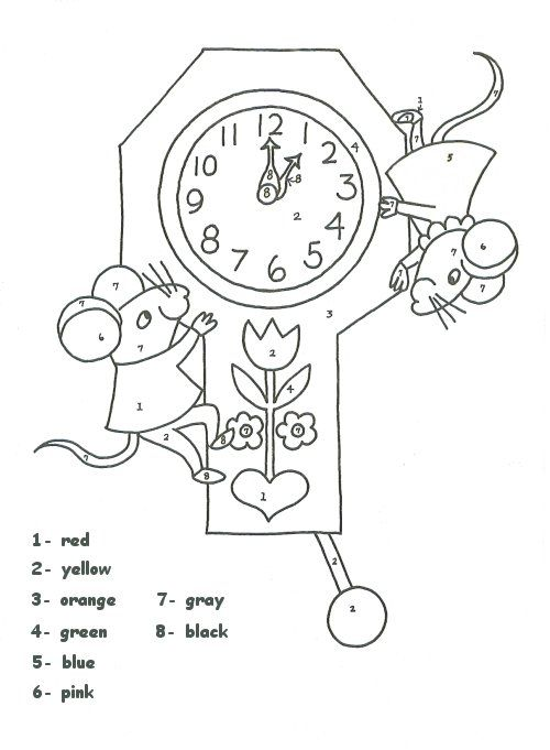 Clock Color Number Worksheet