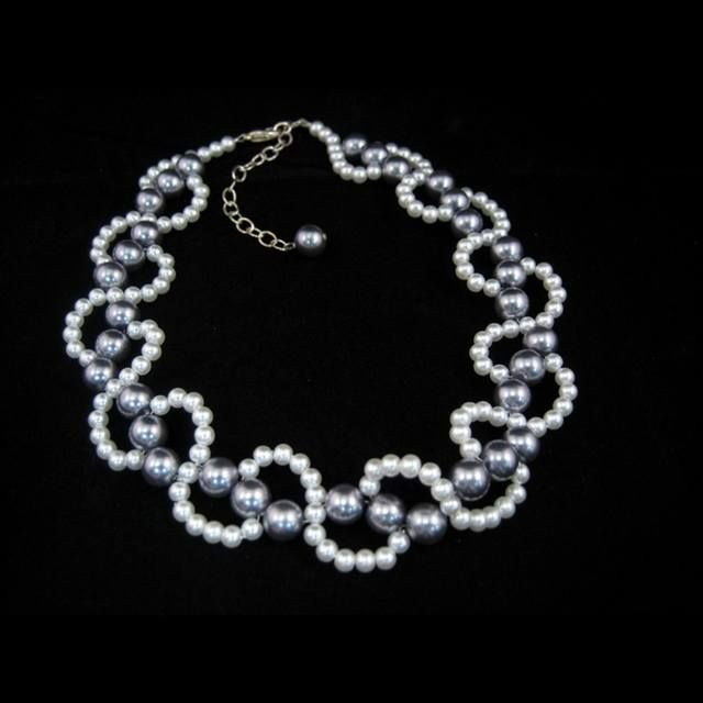 Gray Pearl Necklace Tutorial - 1