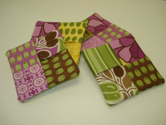 4 Green & Purple Fabric Coasters - Mug Pad - Coffee Tea Cup Mat Set by SweetLibertyStudio on Etsy