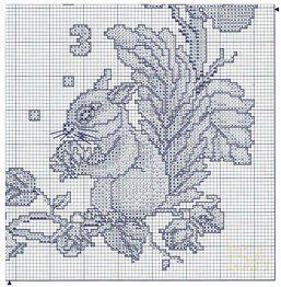 Cross Stitch Clock - Squirrels 4 of 4