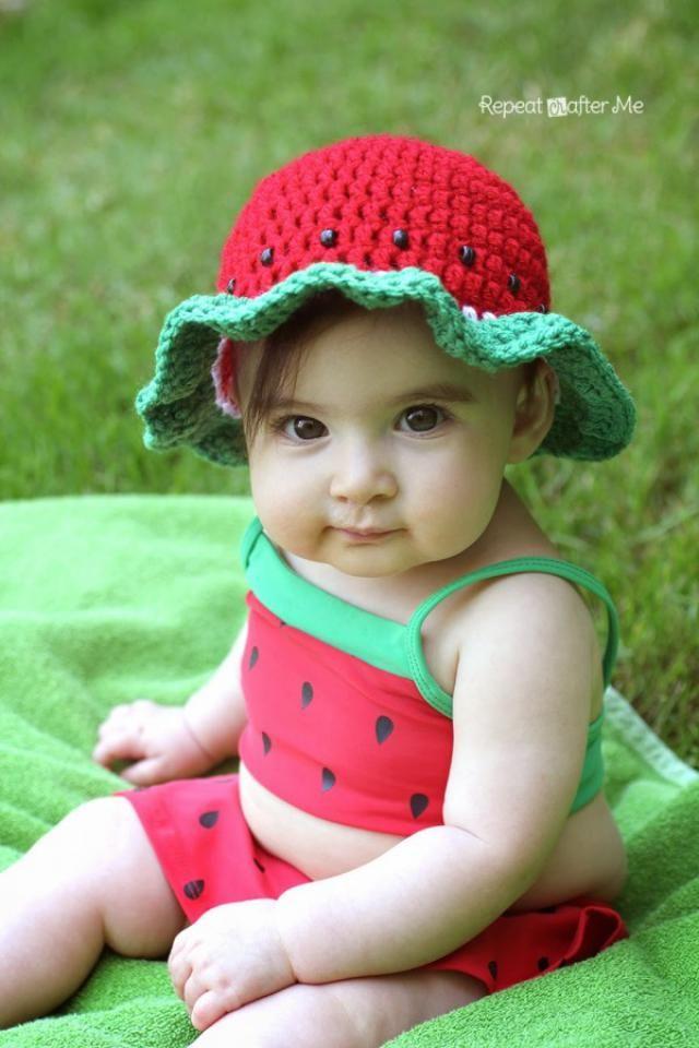 10 Watermelon Crochet Patterns for Summer: Crochet Watermelon Sun Hat Pattern