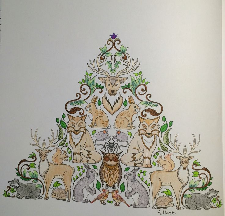 triangle with different animals ( badger, owl, deer, mice, birds and bunnies) and leaves From Johanna Basfords 'enchated forest'