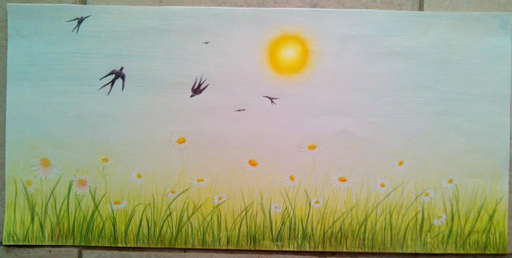 """spring"" I did this for my daughter's room, it was made with color pencils on plain paper and very quick because she was anxious to put it on the wall"