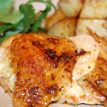 Roast Sticky Chicken Rotisserie Style - Add this recipe to your meal plan.   I bought a rotisserie oven at a yard sale this past summer. I have fallen in love with it because it is so easy to use. Want more recipes- Thank You :)
