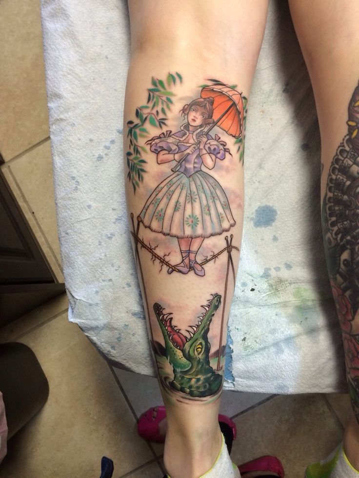 Disney Haunted Mansion girl with parasol over alligator by Pooka at Ocho Placas Tattoo Company; Miami, FL.