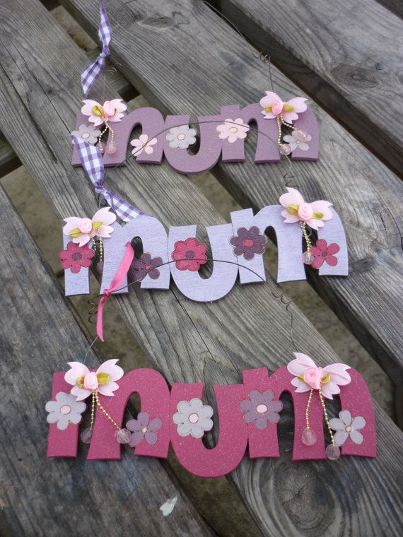 Handpainted  wooden MUM sign for Mother's by KatijanesCreations, £7.95