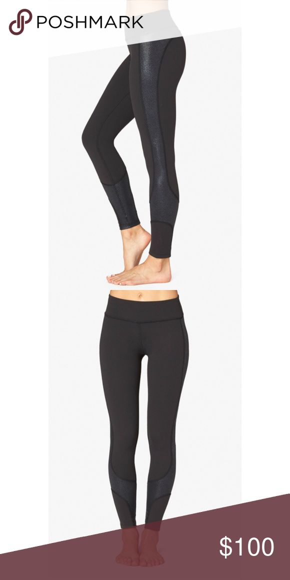 Beyond Yoga- Curved Legging in Black New w Tags- black legging with glossy printed details along the side of the bottoms from Beyond Yoga. Style with any cute top. Beyond Yoga Pants Leggings