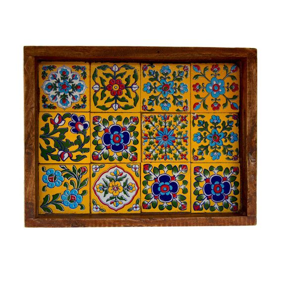 yellow tiles blue pottery wooden serving tray by Pulpypapaya, $30.00
