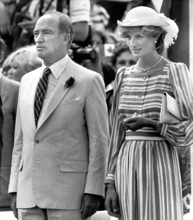 Category: Memories Of Diana - Princess Diana Remembered.  Diana stands next to Prime Minister Pierre Trudeau during arrival  ceremonies in Ottawa, June 20, 1983