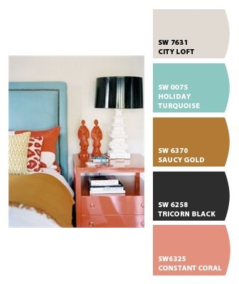 turquoise, coral and neutrals