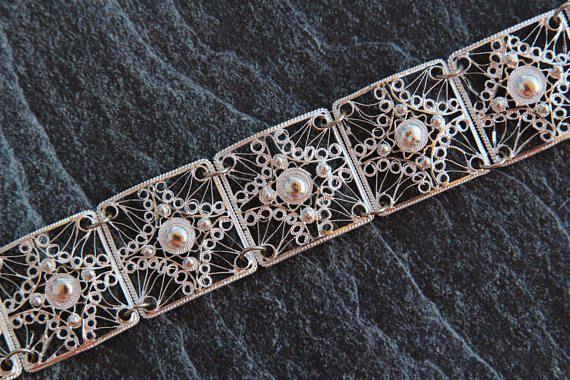 925 Silver bracelet Filigree bracelet Womens bracelet Sterling
