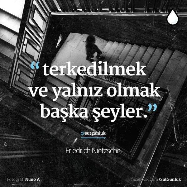 """""""terkedilmek ve yalnız olmak başka şeyler."""" — Friedrich Nietzsche"""
