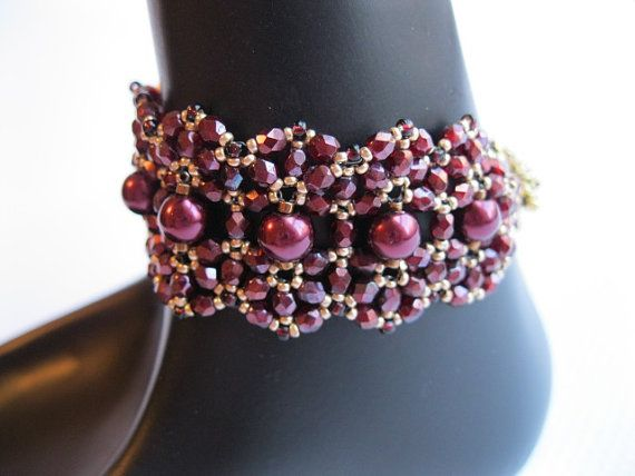 Ruby crystal pearl and firepolish Persian by BeadALittleDream, $38.00